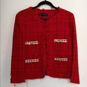 Red tweed military jacket